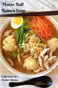 A blendng of two delicious food cultures comes together to create this unique Matzo Ball Ramen Soup. One scrumptious bowl you have to try Meal Plan Printable, Vegetarian Recipes, Healthy Recipes, Easy Recipes, Healthy Soups, Vegetarian Dinners, Healthy Dinners, Salad Recipes, Kitchens