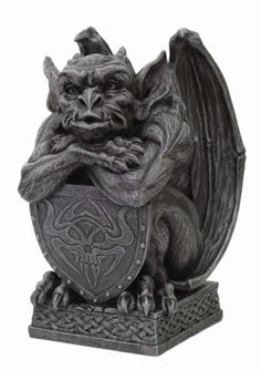 Winged-Gargoyle-Warrior-Guardian-with-Armored-Shield-Figurine-7-H-Statue-Decor