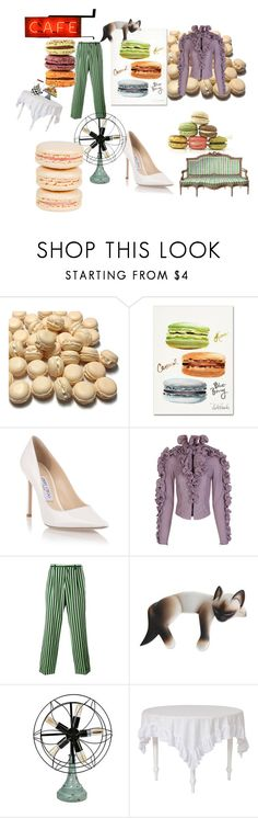 """""""Macaron, Macaroon"""" by gina-stewart75 on Polyvore featuring Trademark Fine Art, Jimmy Choo, Y/Project, Walter Van Beirendonck, NOVICA, MacKenzie-Childs and Mikimoto"""