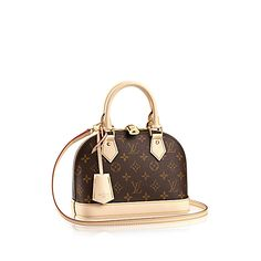 Discover Louis Vuitton Alma BB  The charming Alma BB traces its pedigree to the original Art Deco icon, introduced in 1934. This miniature version in Monogram canvas easily holds keys, wallet, smartphone and lipstick. With a strap that adjusts the bag to waist or hip height, the Alma BB can be worn across the body for hands-free ease.