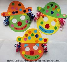 Cut out masks for hospital clowning to leave with children Masques clowns pour le carnaval Clown Crafts, Circus Crafts, Carnival Crafts Kids, Preschool Crafts, Diy Crafts For Kids, Arts And Crafts, Mardi Gras, Theme Carnaval, Paper Plate Crafts