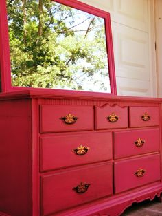 Painted Pink, Antique Dresser.  Paint: Tutti Fruitti by Behr.