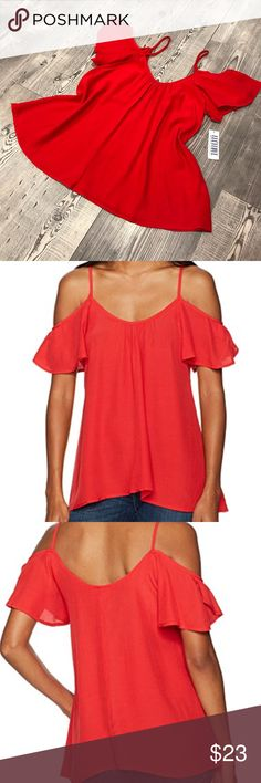 NEW Lucy Love Flutter-Sleeve Cold-Shoulder Top Valentine's red short-sleeve scoop neck top features cold-shoulder design with flutter sleeves and figure-skimming hemline. Rayon/dry clean only. Lucy Love Tops