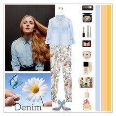 """Floral denim"" by rara-nataliya ❤ liked on Polyvore featuring Christian Louboutin, Zara, Dorothy Perkins, Christian Dior, Marc Jacobs, MAC Cosmetics, NARS Cosmetics, Essie and Carolee"