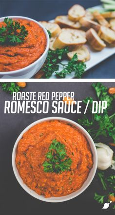 Roasted Red Pepper Romesco, Vegan Dips, Vegan Sauces, Delicious Vegan Ideas, Romesco dip Homemade Appetizer Dips, Best Appetizers, Blender Food Processor, Food Processor Recipes, Detox Diet Recipes, Healthy Recipes, Thermomix Pesto, Fondue, Healthy Tuna Salad