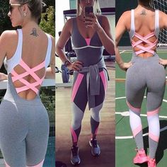Sexy Stretch Yoga Leggings Fitness Skinny Backless Sports Jumpsuit Set For Women