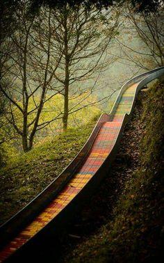 Sugoiiiiiiii :v Roller-slide down a hill at yamabiko-no-mori in Takatsuki, Osaka City