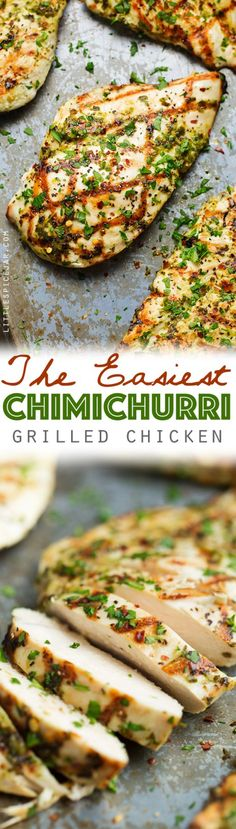 The Easiest Grilled Chimichurri Chicken - Chicken breasts marinated in homemade chimichurri sauce. This takes less than 5 minutes to prep and tastes AMAZING! #chimichurrichicken #grilledchicken #chickendinner   Littlespicejar.com