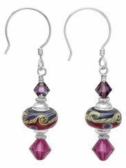 Jewelry Making Designs - Fuchsia Wave Earrings