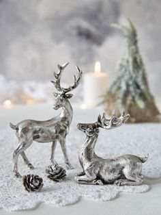 Nordic Silver Deer. Plastic toy deer? + spray paint?