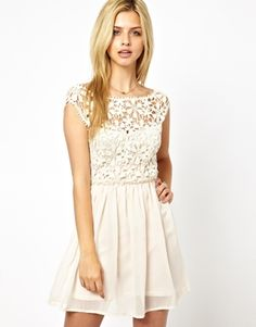 Club L Crochet Skater Dress- love the crochet and pleated skirt and delicate look