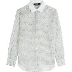Rochas Bouclé Blouse (10 165 UAH) ❤ liked on Polyvore featuring tops, blouses, shirts, sweaters, white, collared shirt, white collared blouse, slim shirt, white fitted shirt and white collar shirt