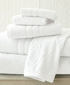 Another great find on #zulily! White Chain Jacquard & Solid Egyptian Cotton Towel Set #zulilyfinds