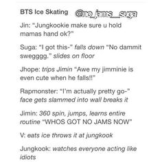 BTS Ice Skating - I live how Jungkooks always looking at how they are such (adorable) idiots