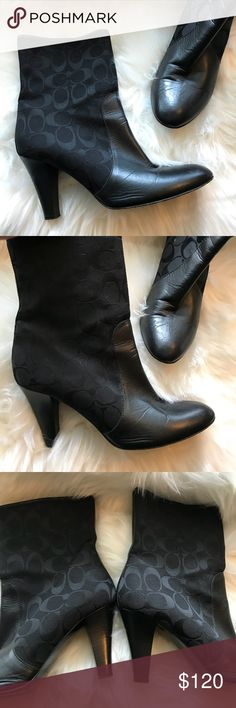 Signature Coach Booties Signature leather coach Boots Size 8.5. Some normal wear but still in very good condition. Looks so cute on. I am an 8 1/2 but usually wear a nine in boots. If you also go half-size up with boots and you are size 8, these should fit great! Signature black canvas with leather in the front and black leather trim in the back. Wooden heel approximately 3 1/2 enclosed side zipper. Made In Italy Coach Shoes Ankle Boots & Booties