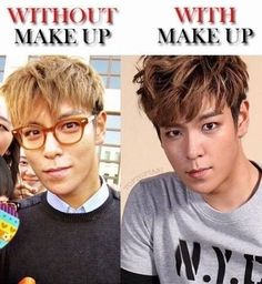 "Either way.........."" TOP ♡ #KPOP #FUNNY oh my... They don't have to do anything to his beautiful face.. I honestly figured he wore more makeup than that.."
