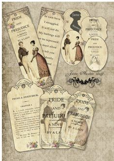 Jane Austen Pride and Prejudice bookmarks and by AngelicaNight