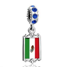 Pugster Blue Sapphire Swarovski Crystal Dangle Mexico Flag Photo Frame Bead Fits Pandora Charms Chamilia Biagi Bracelet Pugster. $16.49. Weight (gram): 3.8. Metal: Silver Tone. Color: Sapphire. Size (mm): 9.42*2.6*27.54