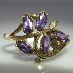 #Vintage #Amethyst #Cluster #Ring €595 #Engagement #Jewelry #The #Antiques #Room #Galway #Ireland Amethyst Cluster, Cluster Ring, Purple Amethyst, Gemstone Colors, Gemstone Rings, Galway Ireland, Engagement Jewelry, Gold Flowers, Leaf Design