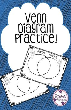 Speech Time Fun: Venn Diagram Practice. 50 Venn Diagrams using common vocabulary and concepts. Sorting cards provided to help students learn how to complete the graphic organizer! Blank Venn Diagram and sorting cards provided!!