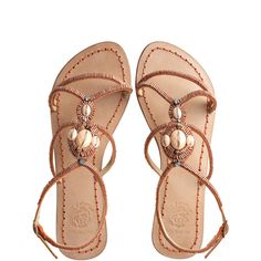 MALIPARMI Primavera Sandal ($40) ❤ liked on Polyvore featuring shoes, sandals, flat sandals, brown, flats, natural, beaded sandals, flat pumps, ankle strap flat sandals and leather strap sandals