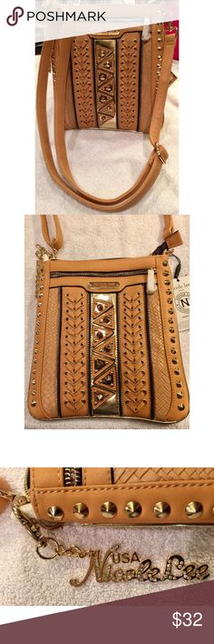 """NWT Nicole Lee Camel Woven Studded Crossbody NWT Nicole Lee camel woven gold studded cross body bag. Adjustable shoulder strap. Zippers and pockets galore! Width 10"""" across. 11"""" tall. Nicole Lee Bags Crossbody Bags"""