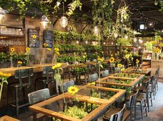 The Aoyama Flower Market Tea House in Tokyo - Ecosia Cafe House, House Restaurant, Restaurant Design, Modern Restaurant, Cafe Interior Design, Cafe Design, Design Design, Home Renovation, Vertikal Garden