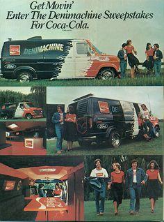 1977 Ford Econoline Coca-Cola Denimachine Van contest ad for Coca Cola. Too awesome!!