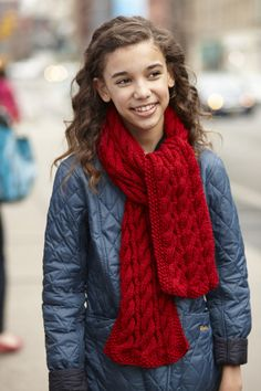 """Time to get started on those Fall projects! Loving this """"Two Sided Cable Scarf"""", a free pattern from Lion Brand"""