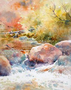 """Below Midgley Bridge"" - Julie Gilbert Pollard Watercolor Water, Watercolor Canvas, Watercolor Landscape, Watercolour Painting, Landscape Paintings, Oil On Canvas, Landscapes, Watercolors, Scenery Paintings"