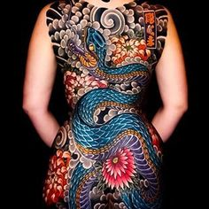 Stunningly beautiful Japanese back tattoo by – Serpent tattoo Full Back Tattoos, Full Body Tattoo, Back Tattoo Women, Tattoos For Women, Sweet Tattoos, Hot Tattoos, Body Art Tattoos, Girl Tattoos, Yakuza Style Tattoo