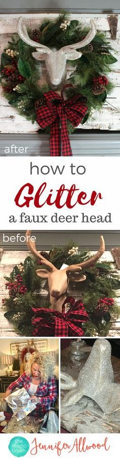 How to make a glitter deer head Christmas Decor | Magic Brush | christmas decorating ideas with glittered deer figurine | DIY Glitter Projects