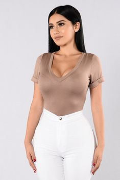 - Available in Heather Grey, Ivory, Olive Burgundy, Mocha, Nude, and Black - V Neckline - Cuffed Sleeves - Cheeky Bottom - Clip Closure - Made in USA - 95% Rayon, 5% Spandex Nude Outfits, Classy Outfits, Trendy Outfits, Fashion Outfits, Dope Fashion, Womens Fashion, Fashion Drug, Hispanic Girls, Really Cute Outfits