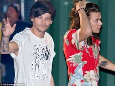 Something to talk about: It may have been a spot on breakfast TV but that didn't stop Louis Tomlinson from having an adult conversation, pictured the night before with Harry Styles at ABC studios in Hollywood