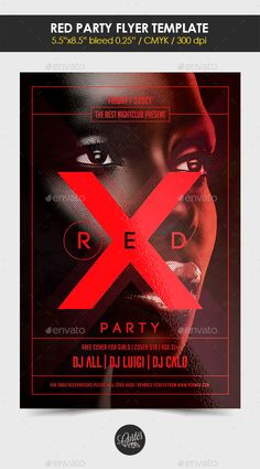 Red Party Flyer Template — Photoshop PSD #girls #nightclub • Available here → https://graphicriver.net/item/red-party-flyer-template/12754213?ref=pxcr
