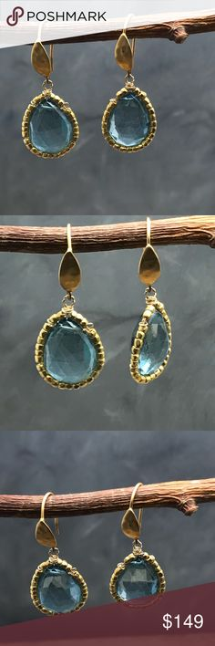 "Handmade London Blue quartz with gold earrings Handmade tear drop earrings with London Blue quartz and surround with 24 k gold beads. Handing on 24 karat coated silver hammered hooks.  These are made in my studio. Matana handmade jewelry. Length about 1.5"". Matana Jewelry Earrings"