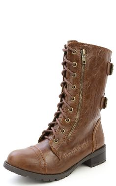 Domesa Double Buckle Lace Up Combat Boots TAN