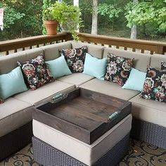 """Our 24"""" x 24"""" ottoman tray being used on our customers beautiful patio #naturecolorlovers #etsy #ottomantray #reclaimedwood"""