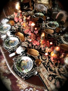 I love this Tapestry Table Runner!   Nancy's Daily Dish: Thanksgiving Table Setting w/ Black Turkey Plates