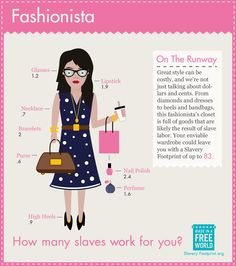 Great #style can be costly, and we're not just talking about dollars and cents. From #diamonds and #dresses to #heels and #handbags, this #fashionista's closet is full of goods that are likely the result of slave labor. #infographic