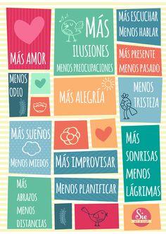 Sie - Art & Craft: Más y menos ♥ Motivational Phrases, Inspirational Quotes, Positive Vibes, Positive Quotes, Mega Sena, Quotes En Espanol, Mr Wonderful, Ideas Para Fiestas, Spanish Quotes