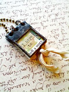 Book Necklace Miniature Book Pendant Glass Journal by Mystarrrs