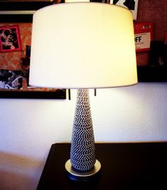 Cool lamp made with Mardi Gras beads!