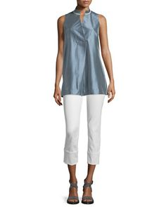 Eloise+Sleeveless+Tunic+Blouse+&+Thompson+Curvy+Cuffed+Cropped+Jeans+by+Lafayette+148+New+York+at+Neiman+Marcus.