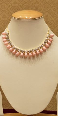 Bridal Wear Peach Beads And Diamond Necklace Set For Women