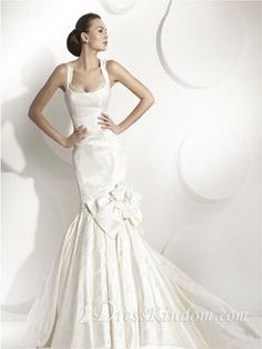 Elegant Trumpet / Mermaid Square Floor-length Chapel Train Taffeta White Wedding Dress [10106426] - US$205.99 : DressKindom