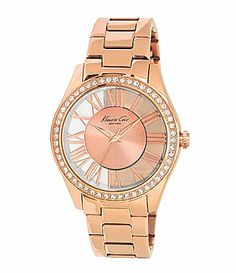 Kenneth Cole New York Ladies Rose Goldtone Transparency Watch #Dillards