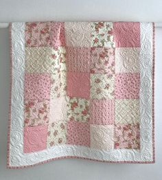 Baby Quilt This adorable patchwork baby girl quilt is made with soft cotton fabrics with floral rose prints. The fabric is from the Fleurs Collection by Brenda Riddle designs for Moda. Baby Patchwork Quilt, Baby Girl Quilts, Girls Quilts, Owl Quilts, Quilt Baby, Whole Cloth Quilts, Keepsake Quilting, Hand Quilting, Baby Quilt Patterns