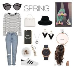 """Spring!"" by marieamalieholm on Polyvore featuring Topshop, MANGO, adidas, Prada, Maison Michel, Yves Saint Laurent, Overland Sheepskin Co., Marc Jacobs, Pandora and Chanel"