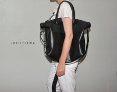 big leather bag  tote minimalist  black by weltfremd on Etsy, €165.00
